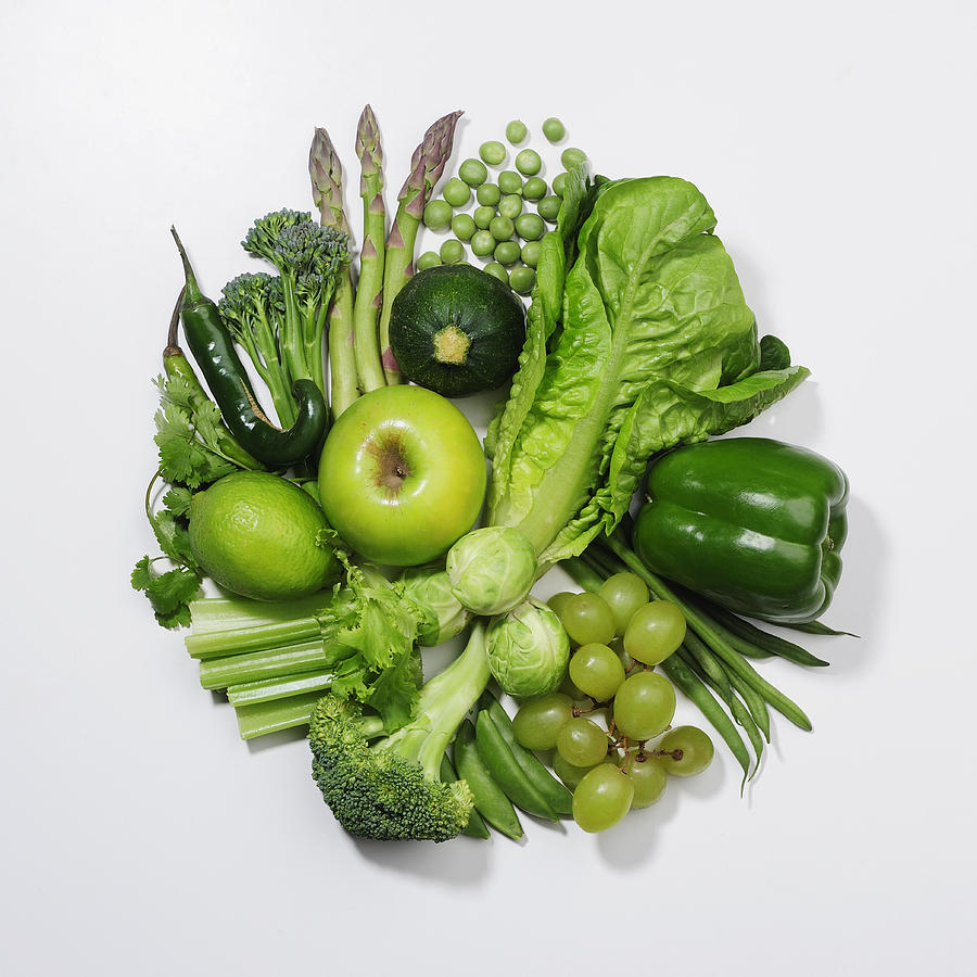 Square Photograph - A Selection Of Green Fruits & Vegetables by David Malan