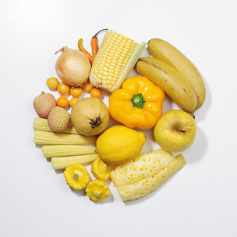 A Selection Of Yellow Fruits & Vegetables Photograph by David Malan