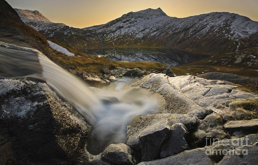 Golden Photograph - A Small Creek Running by Arild Heitmann