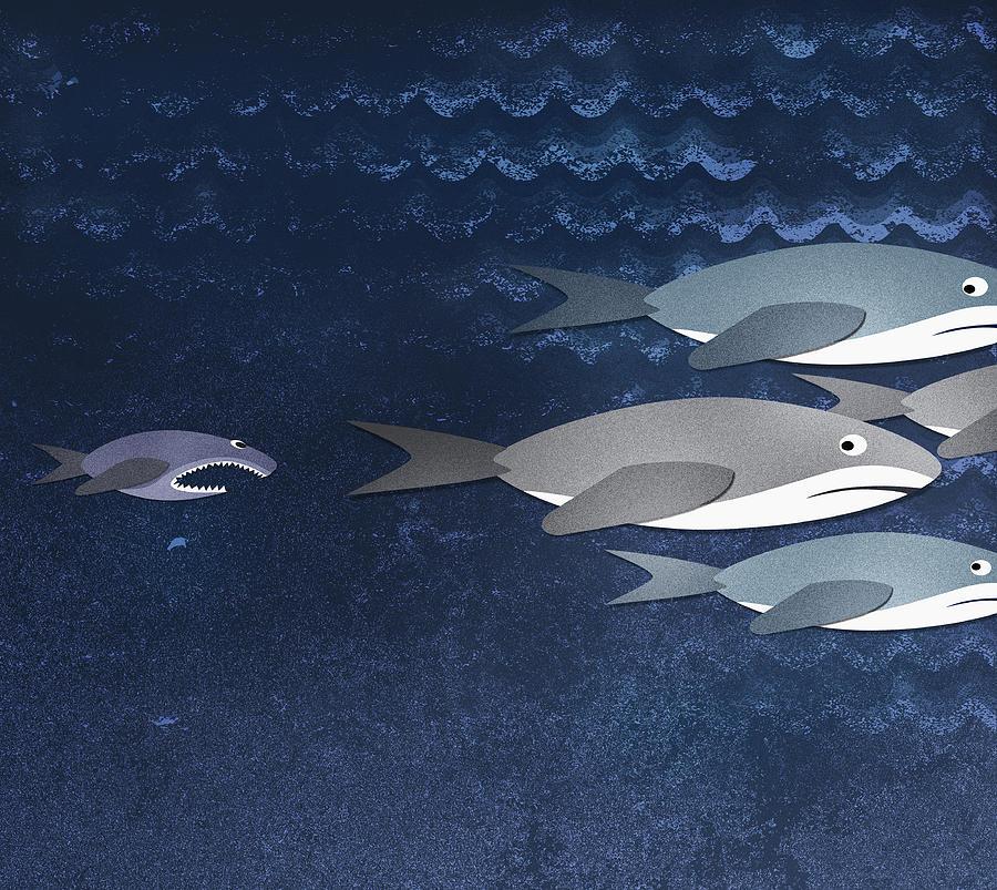 A Small Fish Chasing Three Sharks Digital Art by Jutta Kuss