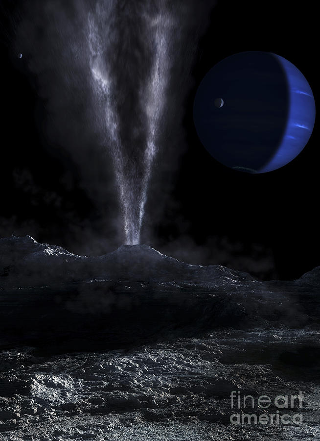 Neptune Digital Art - A Small Geyser On The Surface by Fahad Sulehria