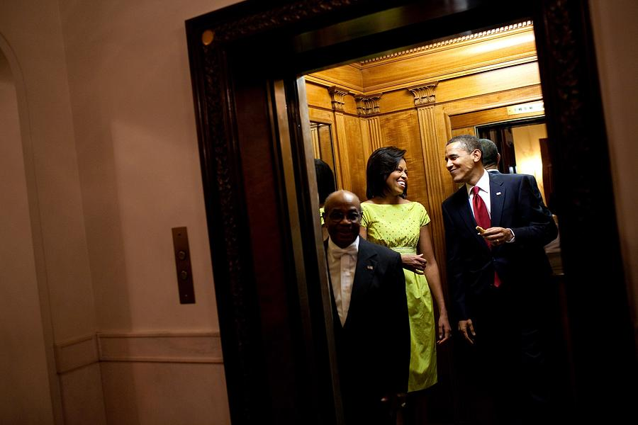 History Photograph - A Smiling President Obama Holds by Everett