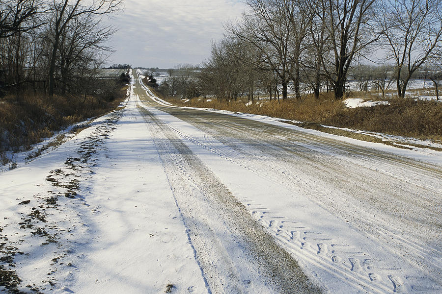 North America Photograph - A Snow-covered Road Passes by Joel Sartore
