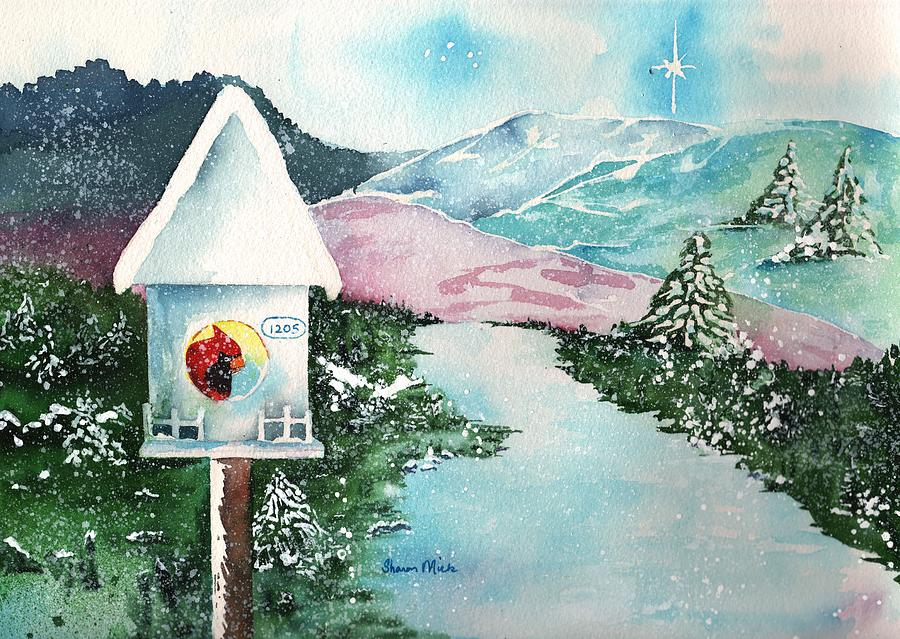 Made In Usa Painting - A Snowy Cardinal Day - Christmas Card by Sharon Mick