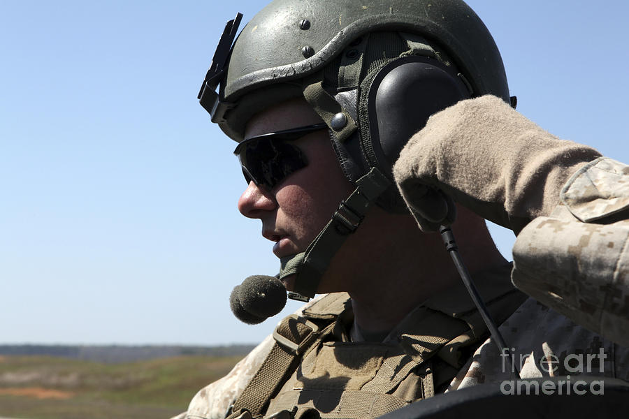 Radio Photograph - A Soldier Keeps In Radio Contact by Stocktrek Images