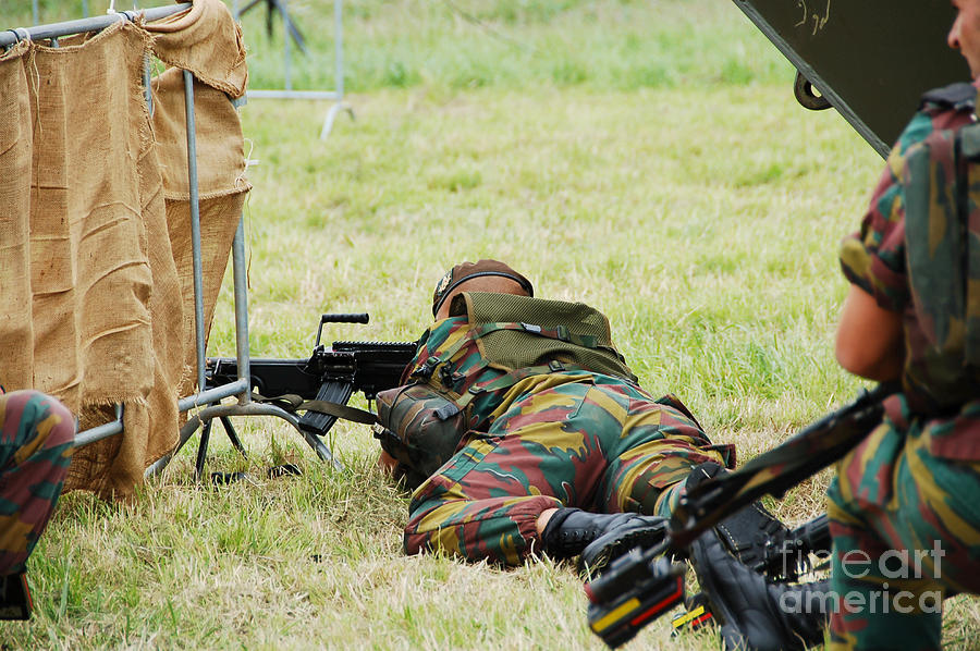 Aiming Photograph - A Soldier Of The Belgian Army On Guard by Luc De Jaeger