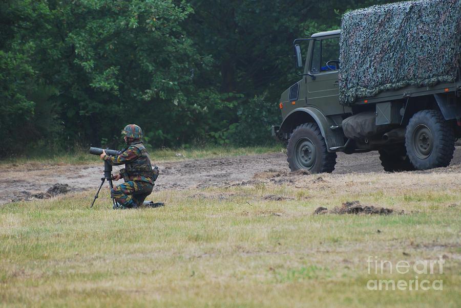 Lg1 Photograph - A Soldier Of The Belgian Artillery Unit by Luc De Jaeger