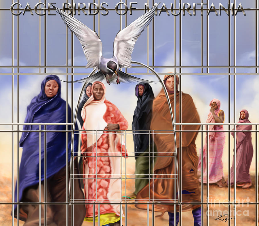 Slavery In Mauritania Painting - A Song For The Caged Birds Of Mauritania by Reggie Duffie