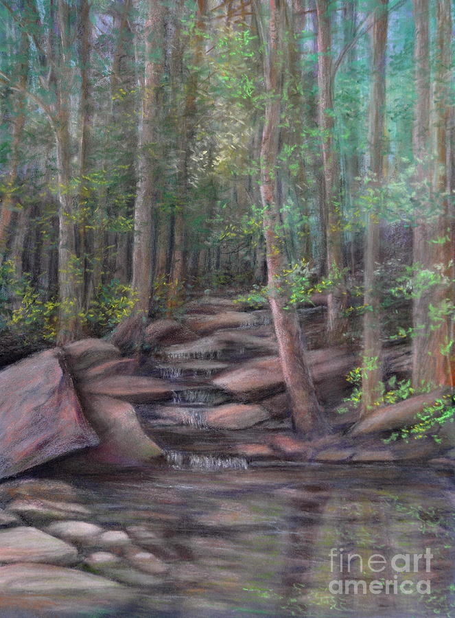 Woods With Stream Painting - A Special Place by Penny Neimiller