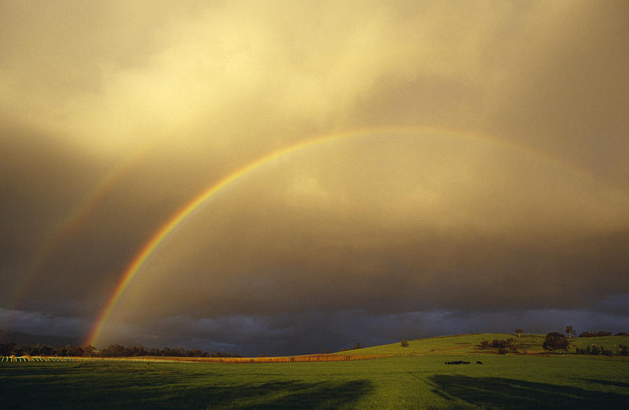 Yarra Valley Photograph - A Spectacular Double Rainbow And Storm by Jason Edwards