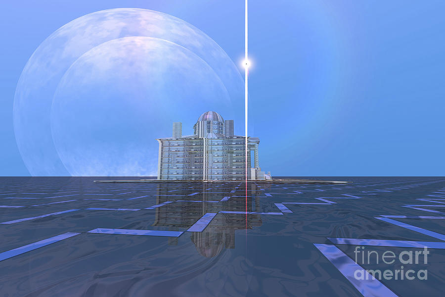 Architecture Digital Art - A Star Shines On Alien Architecture by Corey Ford