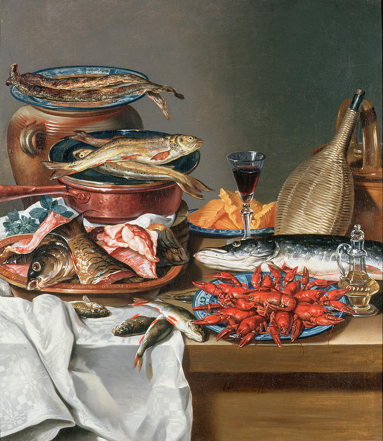 A Still Life Of A Fish Trout And Baby Lobsters Painting By
