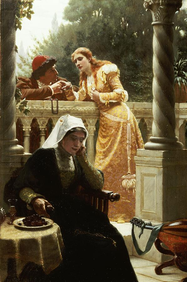 Lovers Painting - A Stolen Interview by Edmund Blair Leighton