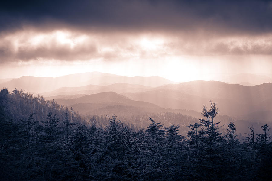 Great Smokey Mountains Photograph - a Storm Over the Smokys Monotone by Pixel Perfect by Michael Moore