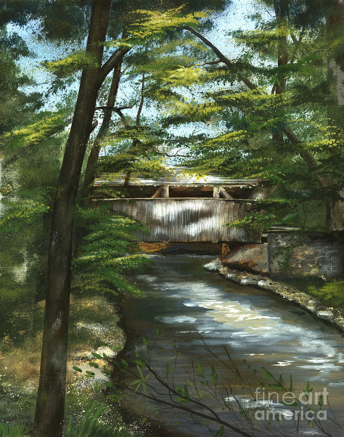 Covered Bridge Painting - A Summer Walk Along The Creek  by Nancy Patterson