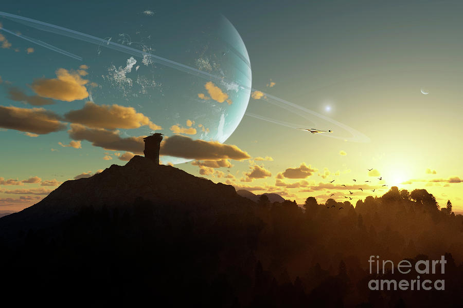 Artwork Digital Art - A Sunset On A Forested Moon Which by Brian Christensen