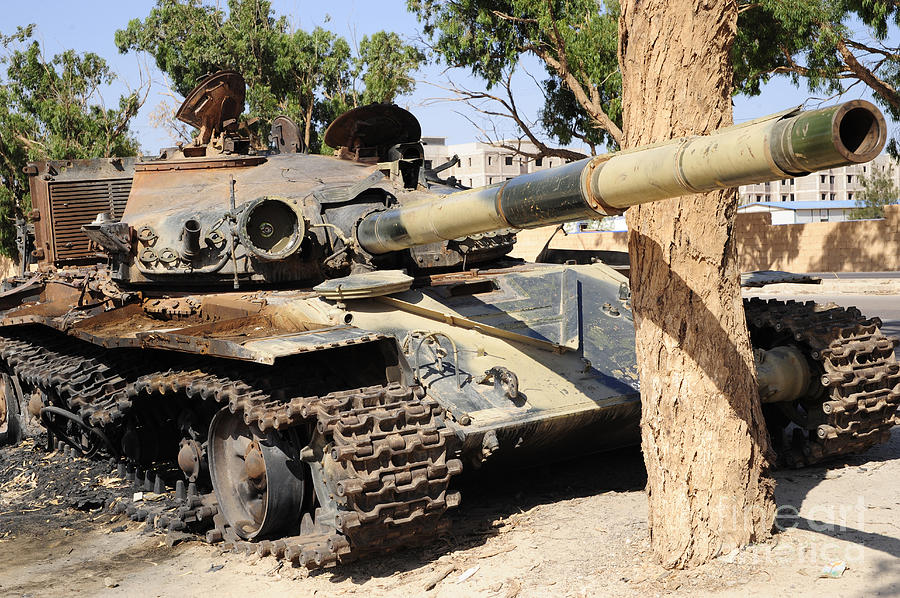Benghazi Photograph - A T-72 Tank Destroyed By Nato Forces by Andrew Chittock