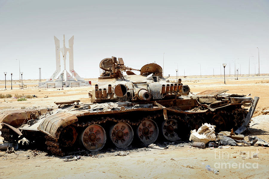 Libya Photograph - A T-80 Tank Destroyed By Nato Forces by Andrew Chittock