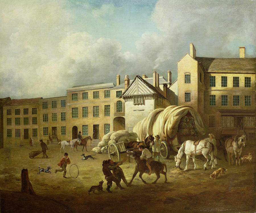 Town Painting - A Town Scene  by George Garrard
