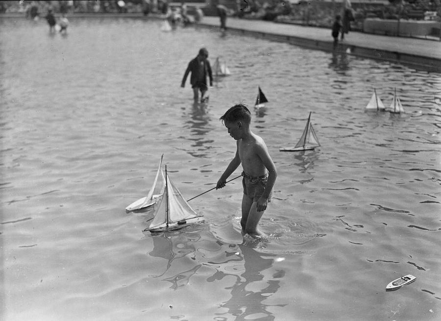 Child Photograph - A Toy Boat by H F Davis