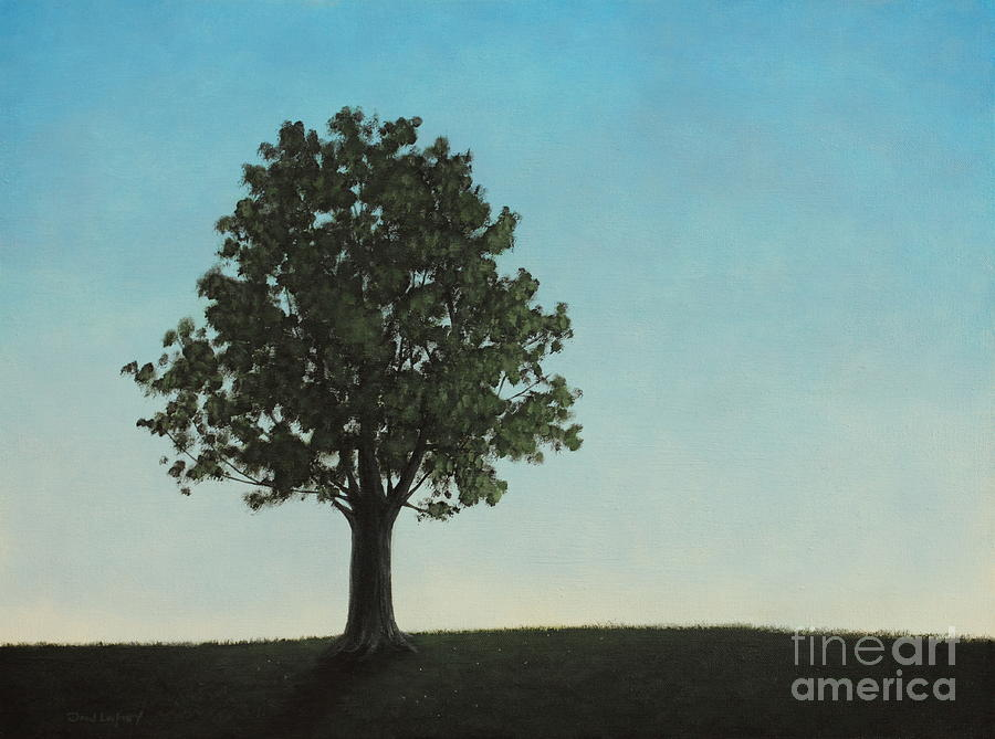 Tree Painting - A Tree On A Hill by Dan Lockaby