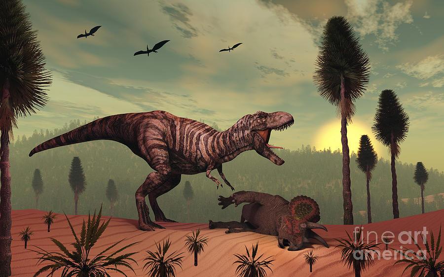 Concept Digital Art - A Triceratops Falls Victim by Mark Stevenson