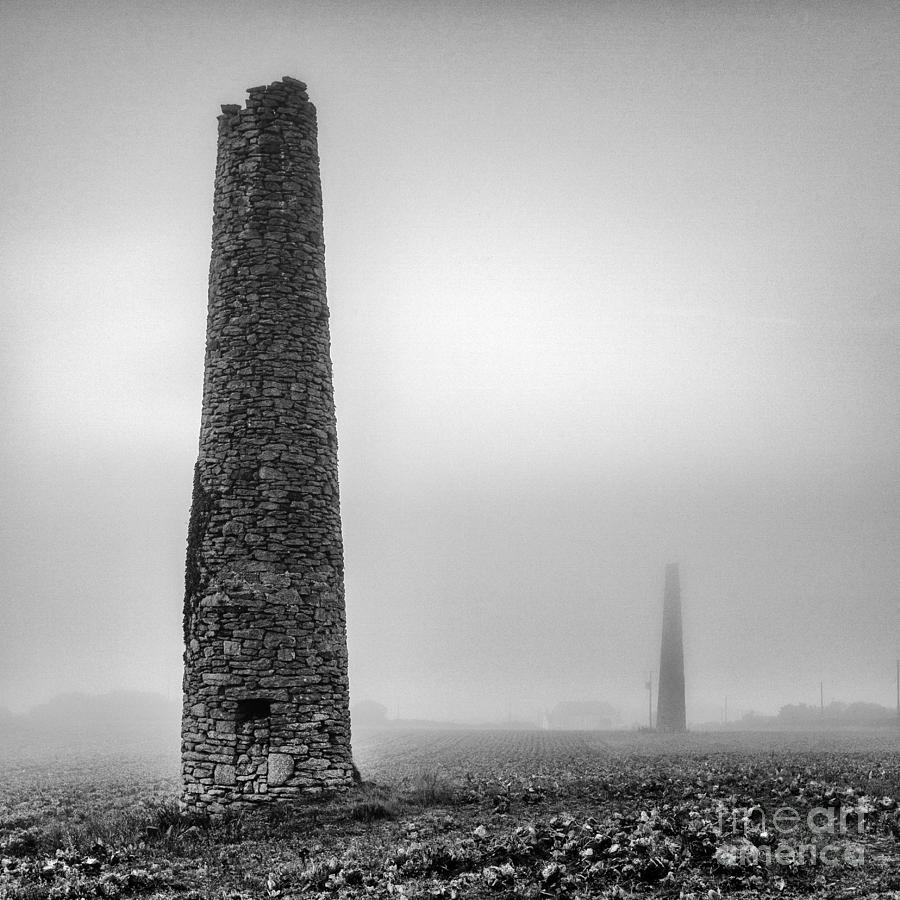 Black And White Photograph - A Twin Cornish Mine Chimneys by John Farnan