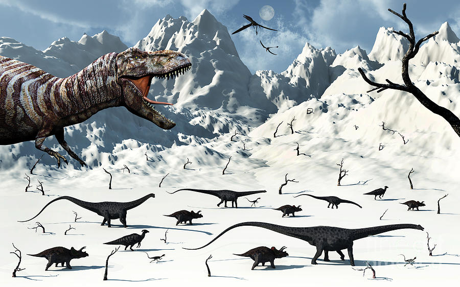 No People Digital Art - A  Tyrannosaurus Rex Stalks A Mixed by Mark Stevenson