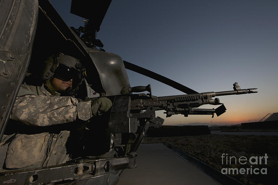 Helicopter Photograph - A Uh-60l Blackhawk Door Gunner Mans by Terry Moore & A Uh-60l Blackhawk Door Gunner Mans Photograph by Terry Moore