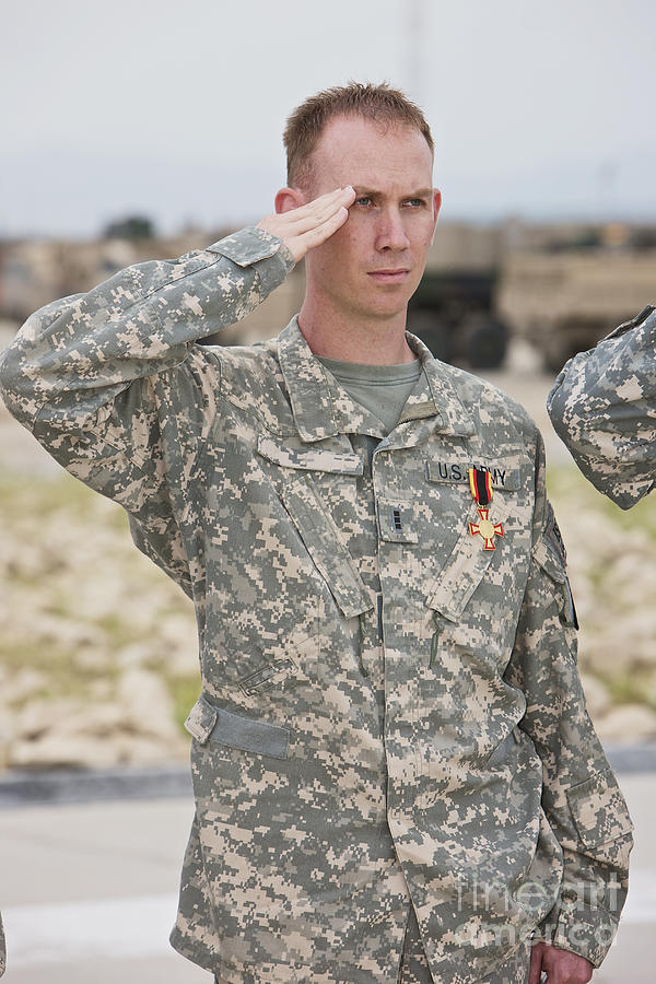 Standing Photograph - A U.s Army Soldier And Recipient by Terry Moore