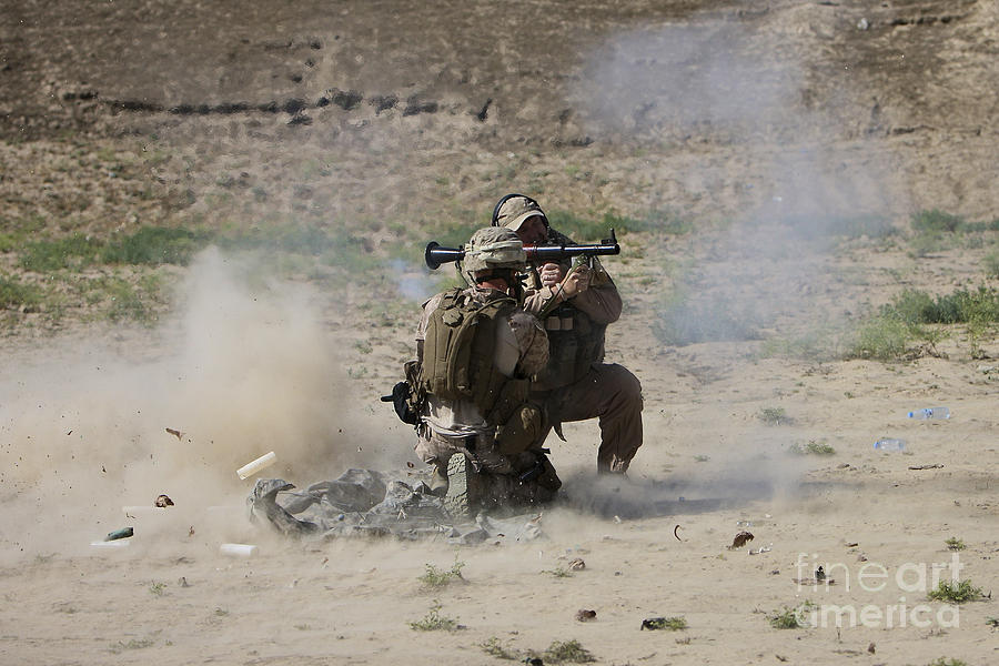 Soldier Photograph - A U.s. Contractor Fires by Terry Moore