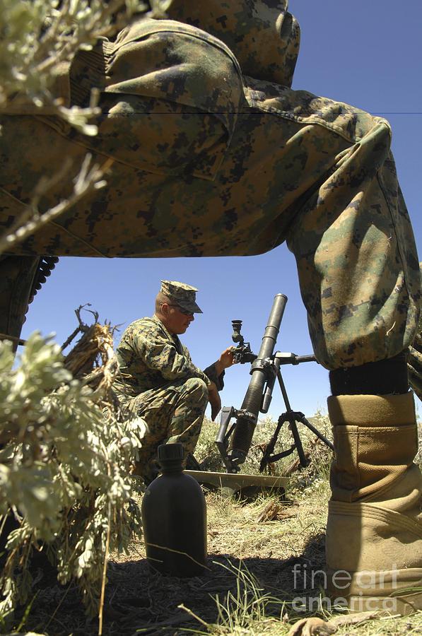 Battlefield Photograph - A U.s. Marine Mortarman Trains On An by Stocktrek Images