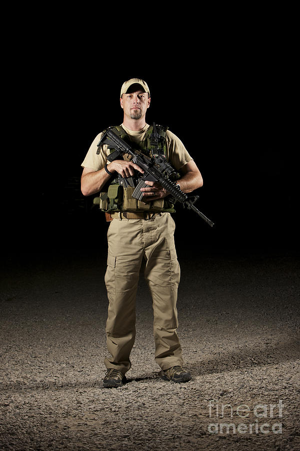 Equipment Photograph - A U.s. Police Officer Contractor by Terry Moore