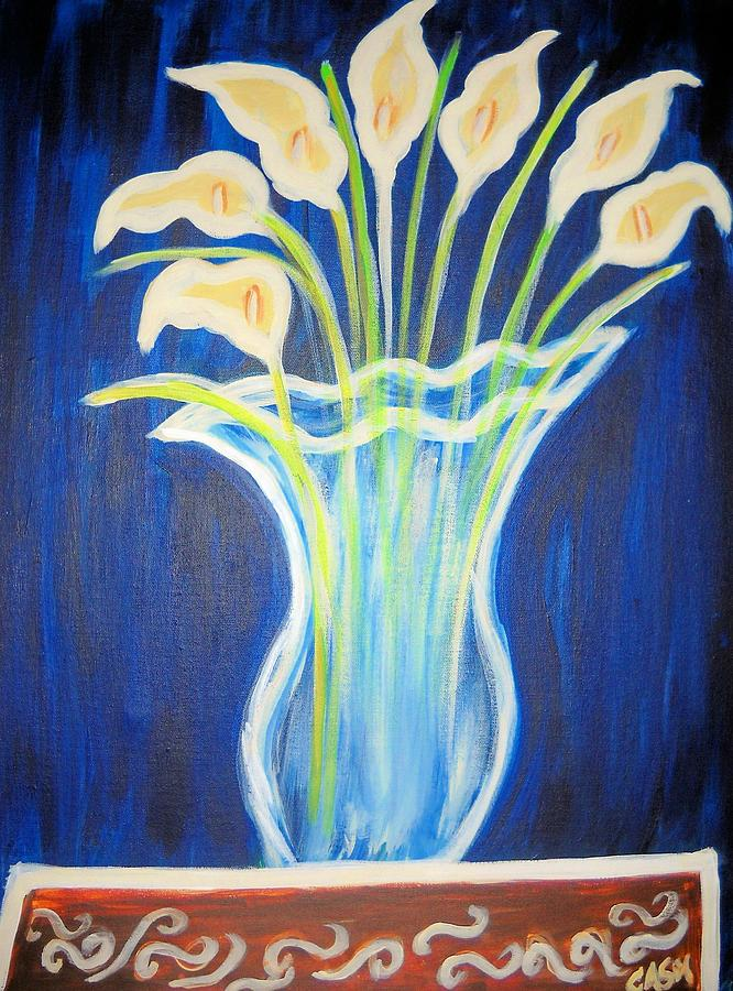 A Vase Of Lilies Painting by Comecha  Stewart Martin