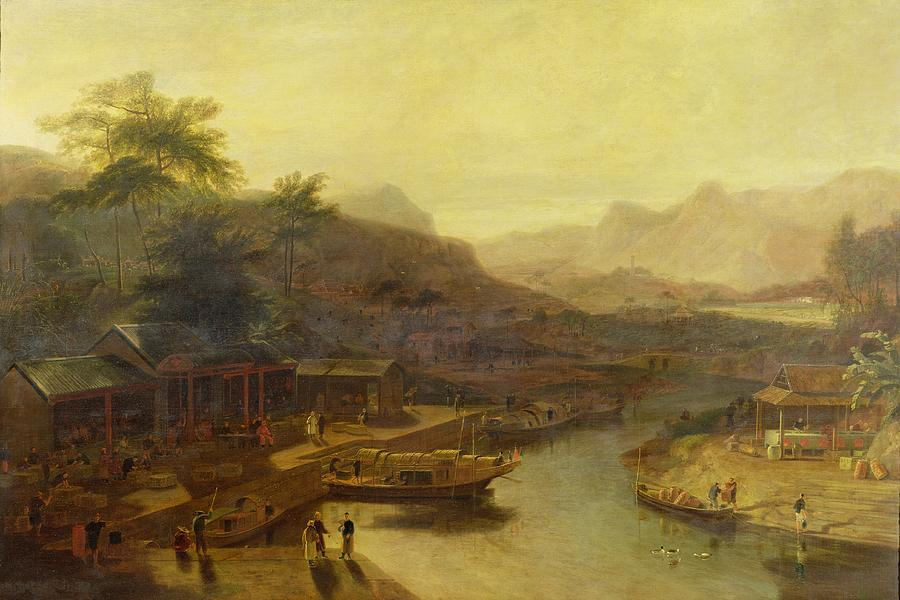View Painting - A View In China - Cultivating The Tea Plant by William Daniell