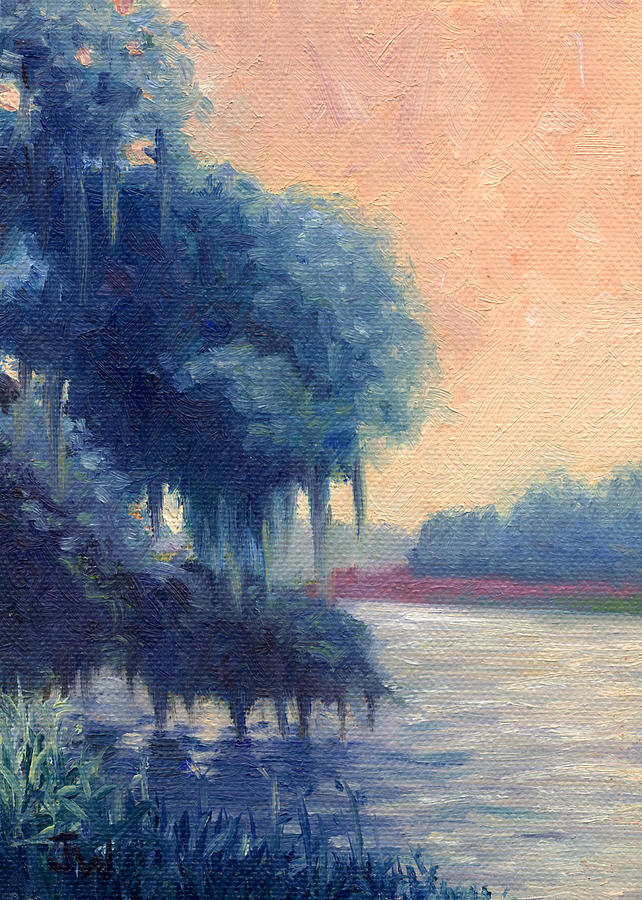 Trees Painting - A View Of The Ashley River by Joe Winkler