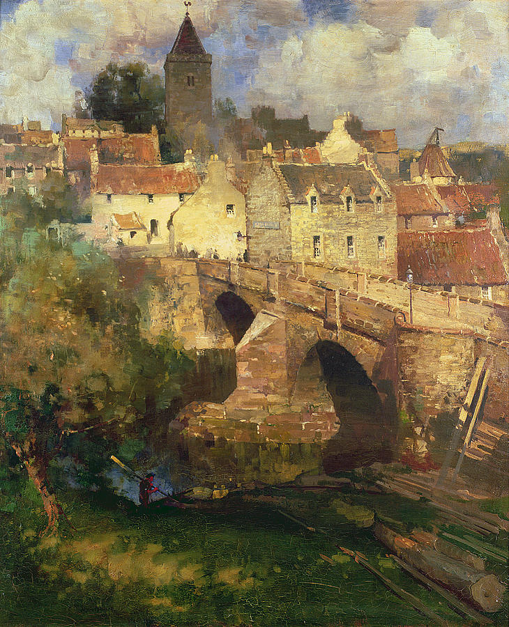 Bridge; Timber; Lamplight Painting - A Village In East Linton Haddington by James Paterson