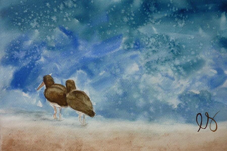 Oystercatchers Painting - A Walk On The Beach by Estephy Sabin Figueroa