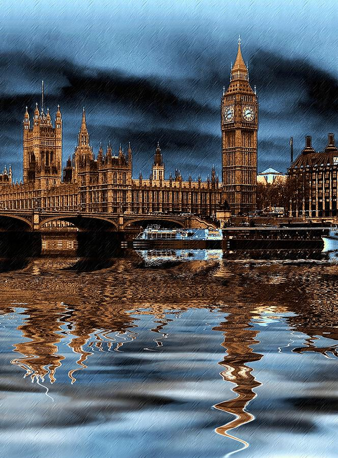 London Photograph - A Wet Day In London by Sharon Lisa Clarke