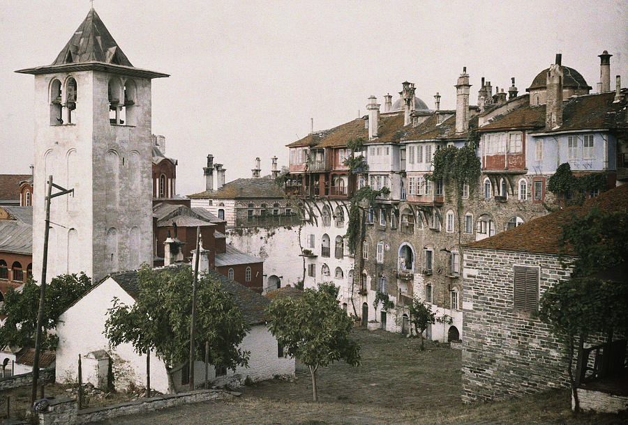 Color Image Photograph - A White Bell Tower Stands Bright by Maynard Owen Williams