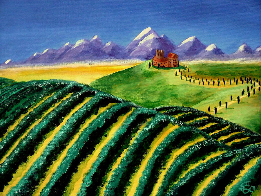 Tuscan Landscape Painting - A Winery In Tuscany by Spencer Hudon II