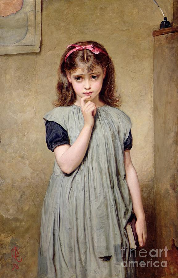 Charles Painting - A Young Girl In The Classroom by Charles Sillem Lidderdale