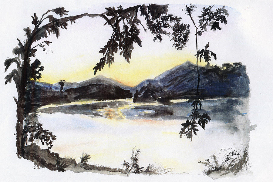 Aare Painting - Aare Am Abend by Jana Goode