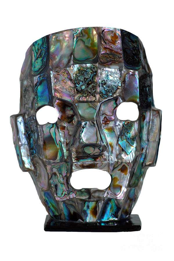 Abalone Mayan Mask Shawn Obrien on Colorful Metal Art