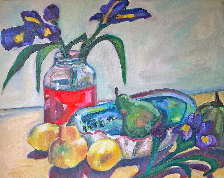 Still Life Painting - Abalone Shell Fruit And Flowers by Michelle Grove