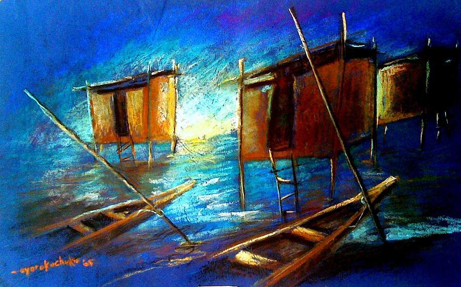 Riverside Painting - Abandoned At Aleibri by Oyoroko Ken ochuko