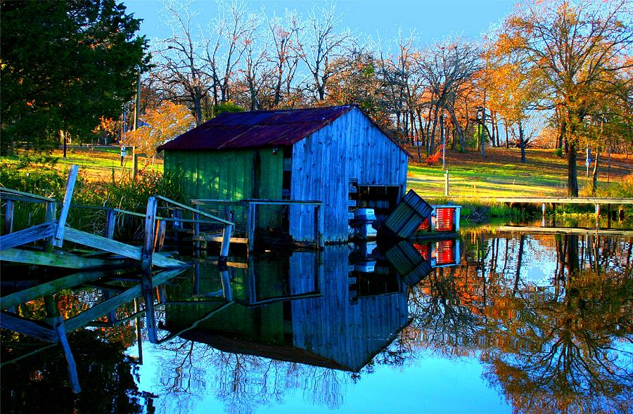 Boat House Digital Art - Abandoned Boat House by Carrie OBrien Sibley