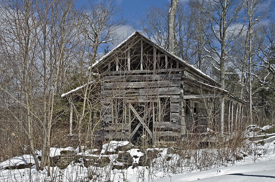 Antique Photograph - Abandoned House In Snow by Susan Leggett
