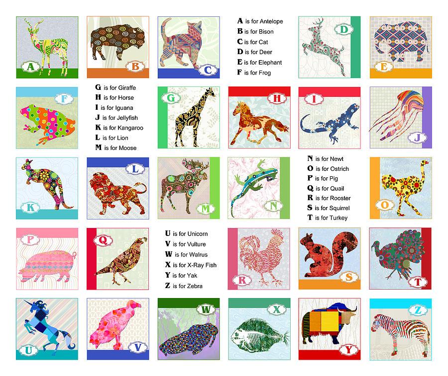 Abc Animal Alphabet Painting By Elaine Plesser