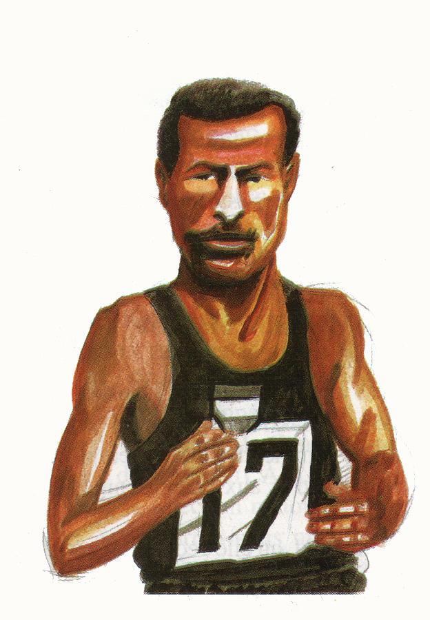 Sports Painting - Abebe Bikila by Emmanuel Baliyanga